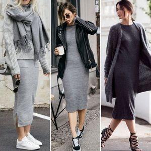 NWOT Madewell // Scoop Neck Midi Grey Dress